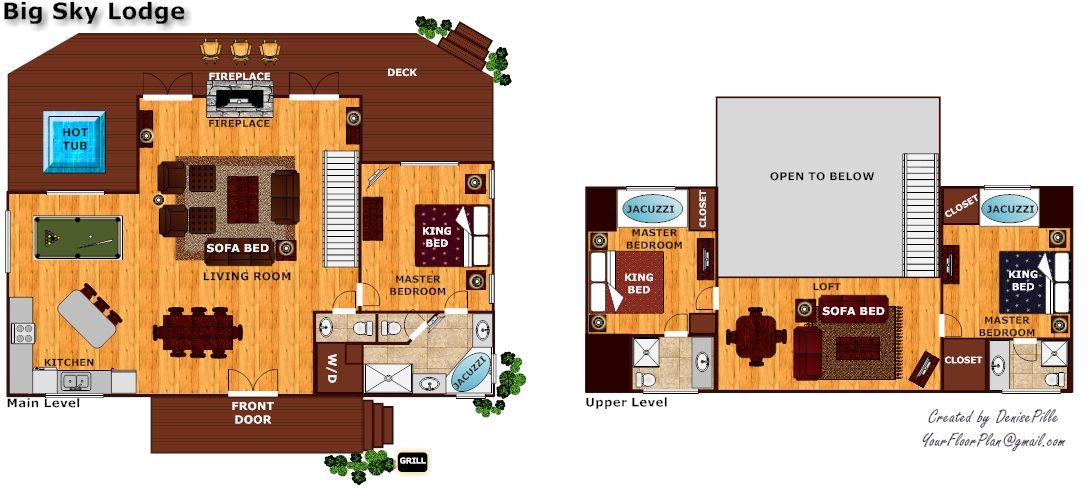Big sky lodge near pigeon forge tn for Large cabin floor plans